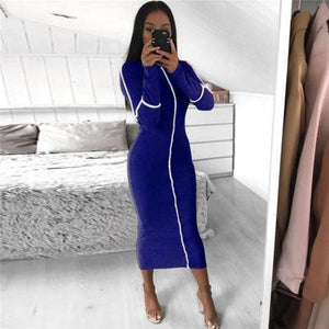 Toneway Clothing Casual Bodycon Women Long Dress Fashion Full Sleeve Striped Patchwork  Dresses Fashion Turtleneck Ladies Skinny Dresses - ToneWay Clothing