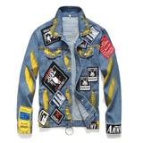 Patched Denim Jackets Badges Hip Hop Jean Coat for Men - ToneWay Clothing