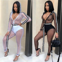 Toneway Clothing Women Fishnet Side Stripe Hooded Jumpsuit with Belt Zipper Up Long Sleeve Sexy Sheer Club Rompers - ToneWay Clothing