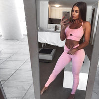 Toneway Clothing Casual Sporting Tracksuit Women 2 Piece Set Fitness Clothes Workout Sportswear For Female High Waist Leggings And Bra Suit - ToneWay Clothing