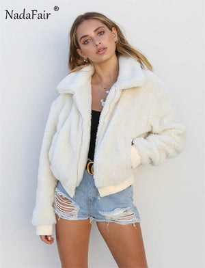 Toneway Clothing Faux Fur Coat Women Autumn Winter Fluffy Teddy Jacket Coat Plus Size Long Sleeve Outerwear - ToneWay Clothing