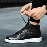 Men Hip Hop Designer Shoes Gold Silver Fashion Sneakers High Top Party Shoes - ToneWay Clothing