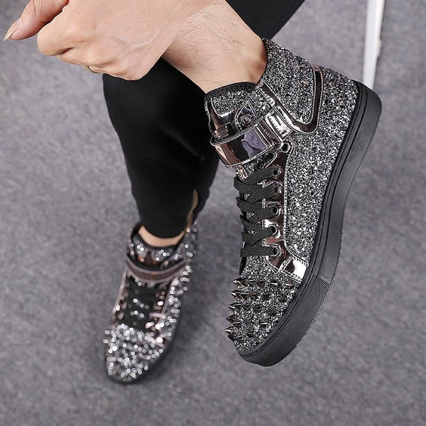 High-Top Spike Studded Leather Shoes - ToneWay Clothing