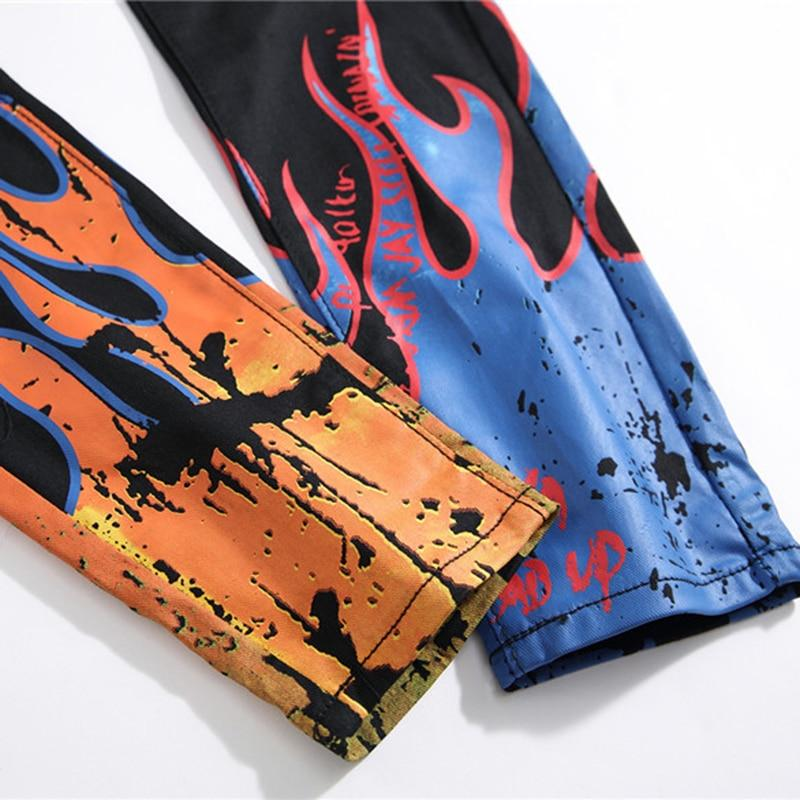 Men's fashion letters flame black printed jeans Slim straight colored painted stretch pants - ToneWay Clothing