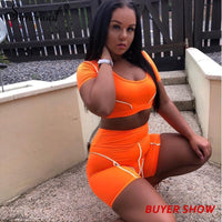 Toneway Clothing Casual Neon Color Women Two Piece Sets Fashion Reflective Active Wear Tracksuit Crop Top And Shorts Matching Set Sporty - ToneWay Clothing