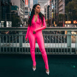 Toneway Clothing women skinny long rompers jumpsuit zipper turtleneck good elastic bodysuit 2019 new fashion reflective patchwork - ToneWay Clothing