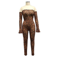 Toneway Clothing Leopard Print Sheer Mesh Night Club Party Jumpsuits Women Sexy Slash Neck Off Shoulder Long Sleeve Romper Female Outfits - ToneWay Clothing