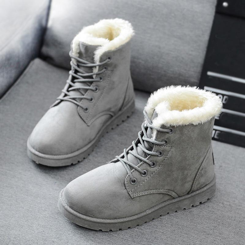 Snow Boots 2020 New Mid-Calf Boots Ladies Cotton Winter Boots Women Warm Fur Women Shoes Winter Women'S Boots Lace Up - ToneWay Clothing