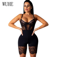 Toneway Clothing Lace Patchwork Sexy Spaghetti Strap Jumpsuits Women Off Shoulder Sleeveless - ToneWay Clothing