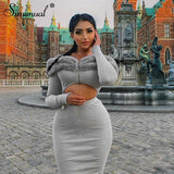 Toneway Clothing Fashion Furry Patchwork Women 2 Piece Sets Ribbed Long Sleeve Off Shoulder Outfits Zip Crop Top And Skirt Matching Set - ToneWay Clothing