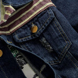 Mens Denim Jacket Flag Embroidery Design Scratched Patchwork - ToneWay Clothing