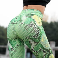 Snakeskin Print Leggings Sports High Waist Pants Sexy Short Trousers Women 2020 Fashion - ToneWay Clothing