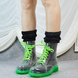 Toneway Clothing Fashion ladies flat rain boots  transparent Martin boots water shoes - ToneWay Clothing