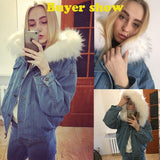 Warm Bomber Women Winter Autumn Hooded Jeans Denim Jackets - ToneWay Clothing
