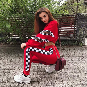 Women 2 Pieces Sets Red Color Hoodies Sweatpants Fashion Female Loose Pullover Top And Plaid Pants Tracksuit - ToneWay Clothing