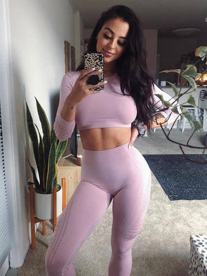 two piece set Women sexy Seamless Legging Striped Knitted Pants gym tracksuit leggings Workout Set Sportswear fitness clothes - ToneWay Clothing