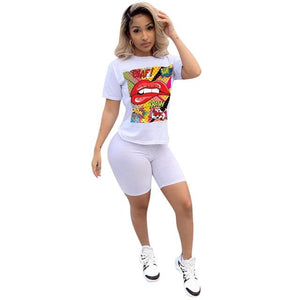 Toneway Clothing Women Sport Tracksuit Two Piece Set Summer Letter Print Short Sleeve Crop Top T Shirt Pants Suit Jogging Outfit Club Matching Set - ToneWay Clothing