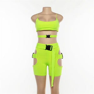 Women Sexy Two 2 Piece Sets Backless Square Collar Spaghetti Strap Crop Tops - ToneWay Clothing