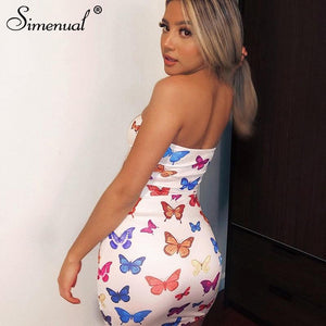 Butterfly Print Strapless Women Party Dress - ToneWay Clothing