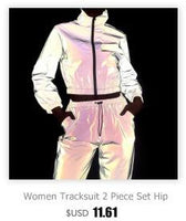 Toneway Clothing Women Tracksuits 2 Piece Set Reflective Zip Crop Top Pants Windbreaker Fashion Female Loose Glow Jacket Coat Trousers Plus Size - ToneWay Clothing
