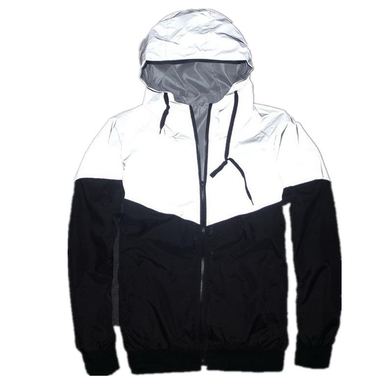 Men Reflective Jacket Windbreaker Jackets Hooded Hip-Hop Streetwear Coats - ToneWay Clothing