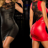 Toneway Clothing Tight-fitting sexy Lace Dress slim Wet Look Fetish Bondage Vinyl red PVC dress Leather Bodycon - ToneWay Clothing
