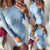 Toneway Clothing 2020 New Autumn Winter Warm Sweater Dress Women Sexy Slim Bodycon Dress Female O neck Long Sleeve Knitted Dress Vestidos - ToneWay Clothing