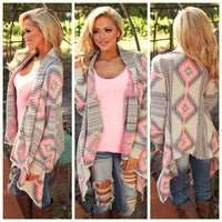 Toneway Clothing women new fashion Aztec printed long sleeved casual all-match Cardigans - ToneWay Clothing