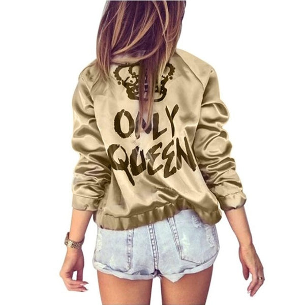 Women Autumn Bomber jacket Women Coat Crown Queen Long Sleeve Zipper Top Coat Biker Casual Short Outwear - ToneWay Clothing