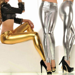 b01b5a608bd378 Toneway Clothing Women Shiny Silver Gold Leggings High-Waisted Faux Leather  Stretch Pencil Pants