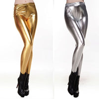Toneway Clothing Women Shiny Silver Gold Leggings High-Waisted Faux Leather Stretch Pencil Pants - ToneWay Clothing