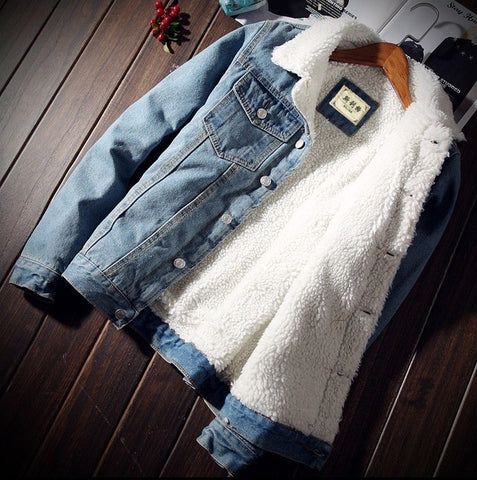 Toneway Clothing Men Jacket and Coat Trendy Warm Fleece Denim Jacket 2020 Fashion Mens Jean Jacket Outwear Male - ToneWay Clothing