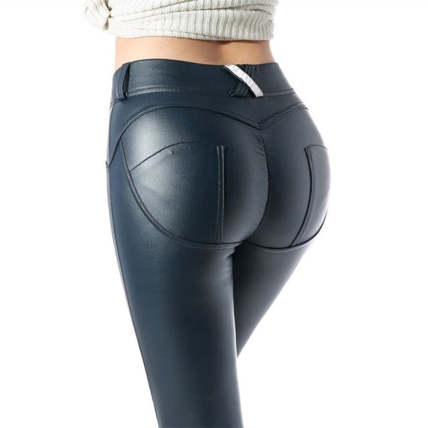 Women Leather Pants Elastic Waist Hip Push Up Black Sexy Female Leggings Jegging Casual Skinny Pencil Pants - ToneWay Clothing