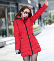 Toneway Clothing women winter hooded warm coat plus size candy color cotton padded jacket female long parka womens wadded jaqueta feminina - ToneWay Clothing