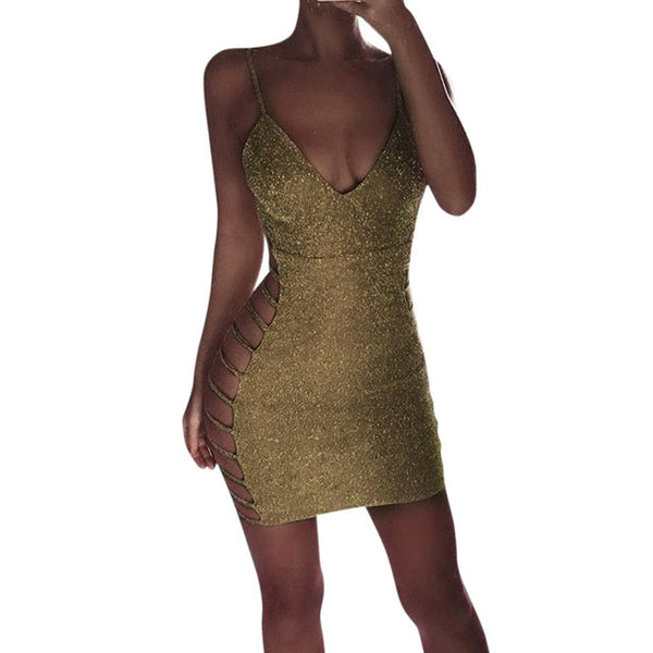 Toneway Hot 2020 Women Summer Dress Fashion Sexy Glitter V-neck Clubwear Cocktail Mini Dresses Casual Sundress - ToneWay Clothing