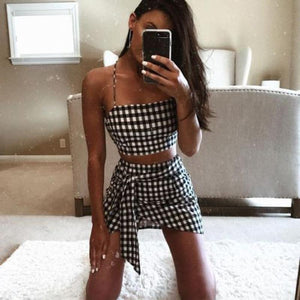 Checkerboard 2 Piece Set Bodycon Skirt Crop Top Mini Skirt - ToneWay Clothing