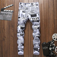 White 3D Printed  Man Fashion  Denim Jeans - ToneWay Clothing