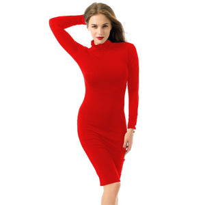 Toneway Clothing Sexy Women Bandage Dress Autumn Turtleneck Slim Long Sleeve Bodycon Dress Fashion High Neck Club Sheath Wrap Dress - ToneWay Clothing