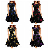 Toneway Clothing Women Summer Clothing Retro Print Flowers High Waist Dresses Casual Office Ladies Party Large Swing Midi Dress Vestidos - ToneWay Clothing