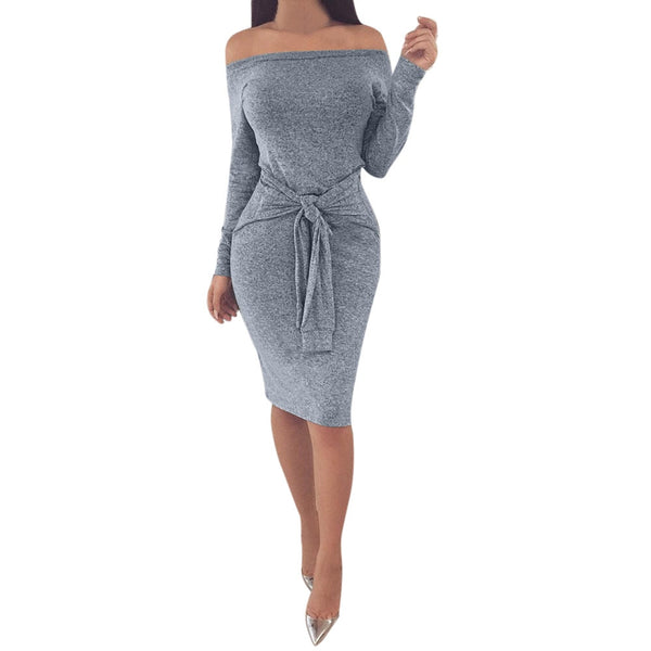 Toneway Off Shoulder Party Dresses Spring Autumn Ladies Long Sleeve Casual Hip Package Mini Dress - ToneWay Clothing