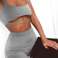 Toneway Clothing Sexy Short Two Piece Set Crop Tops and Biker Shorts Grey Black Matching Sets Summer Clothes for Women - ToneWay Clothing