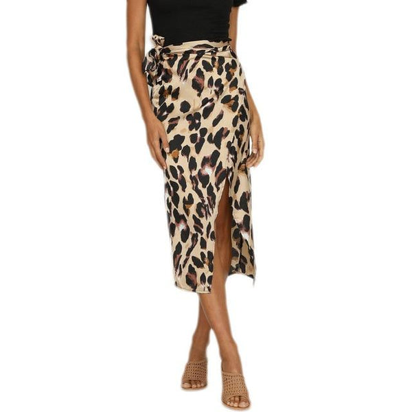 Toneway 2020 Summer Style Pencil Skirt Women High Waist Fashion Sexy England Leopard Printed Split Evening Party Skirt - ToneWay Clothing