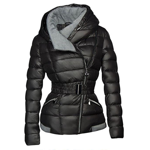 Toneway Clothing Winter Coats Women Parkas Cotton Warm Thick Short Jacket Coat with Belt Slim Casual zipper Black Outerwear Overcoats - ToneWay Clothing