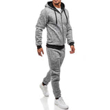 Toneway Men's Autumn Winter Hooded Sweatshirt Set Long Sleeve Zipper Cotton Blend Patchwork Sweatshirt Top Pants  Sports Suit Tracksuit - ToneWay Clothing
