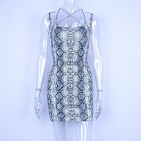 Toneway Clothing backless hollow out sexy bodycon dresses 2020 autumn women fashion club snake skin print mini club dress - ToneWay Clothing
