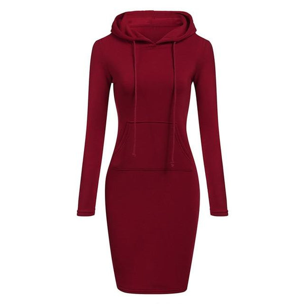 Toneway Clothing Autumn Winter Warm Sweatshirt Long-sleeved Dress 2020 Woman Clothing Hooded Collar Pocket Design Simple Woman Dress - ToneWay Clothing