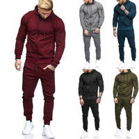 Toneway Men's Autumn high quality materials solid  Zipper Sweatshirt Top Pants Sets Sports Suit Tracksuit Gift - ToneWay Clothing
