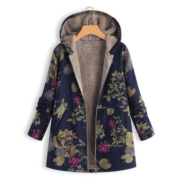 Toneway 2020 Plus Size Winter Women Retro Hooded Womens Winter Warm Outwear Floral Print Hooded Pockets Vintage Oversize Coats - ToneWay Clothing