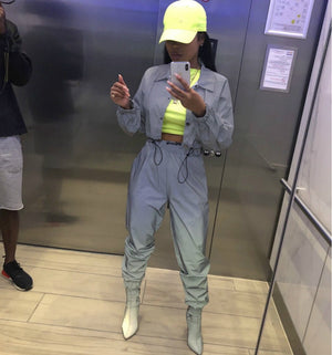 Toneway Clothing Reflective Glowing Two Piece Set Drawstring Crop Top and Pants Hip Hop Club Festival Outfit Tracksuit Joggers Suit - ToneWay Clothing