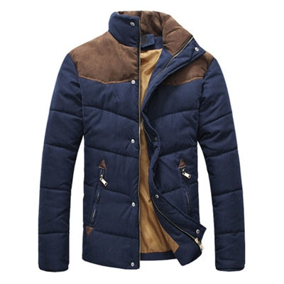 Toneway Clothing Winter Jacket Men Warm Casual Parkas Cotton Stand Collar Winter Coats Male Padded Overcoat Outerwear Clothing - ToneWay Clothing